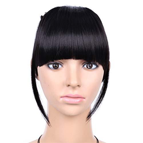 Mesdames Postiches Extension Mode clip droit devant Bangs Piece Cheveux épais humaine Pièces perruque court synthétique naturel pour les femmes,Noir