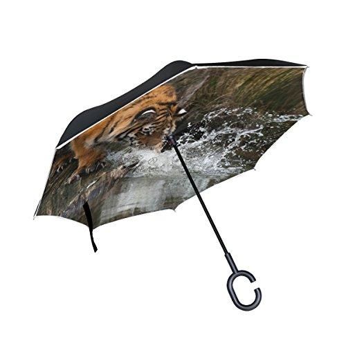 XiangHeFu double layer Inverted Reverse ombrelloni Siberian Tiger cub Catch some Fish pieghevole antivento protezione UV Big dritto per auto con manico a C
