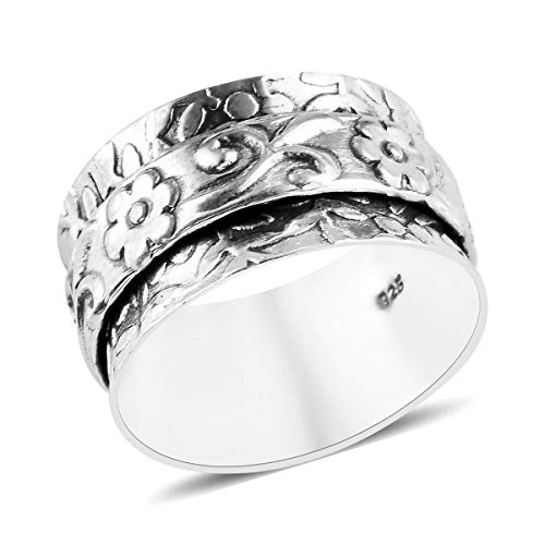 Shop LC Boho Handmade 925 Sterling Silver Band Floral Concave Spinner Ring Fashion Vintage Jewelry Birthday Mothers Day Gifts For Women Size 7