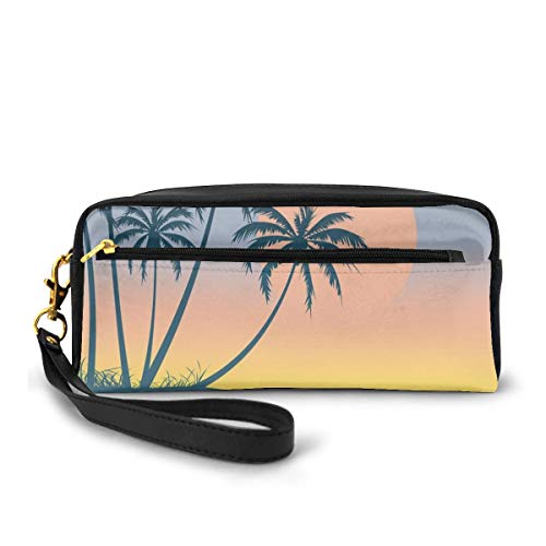 Pencil Case Pen Bag Pouch Stationary,Tropical Island Setting Sun Exotic Bird Small Island and Ocean Soft Color Palette,Small Makeup Bag Coin Purse