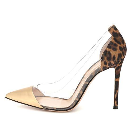 FSJ Women Elegant Stiletto Clear Pumps High Heels Slip On Sandals Party Wedding Dress Shoes Size 9 Leopard Gold