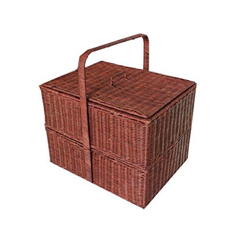 ZXL handgeweven bamboe rotan picknick manden outdoor vierkant dubbellaags camping winkelen wild uitgaan voedsel opslag geschenkmanden (kleur: bruin, grootte: 16.92 * 12.9 * 17.71inch)