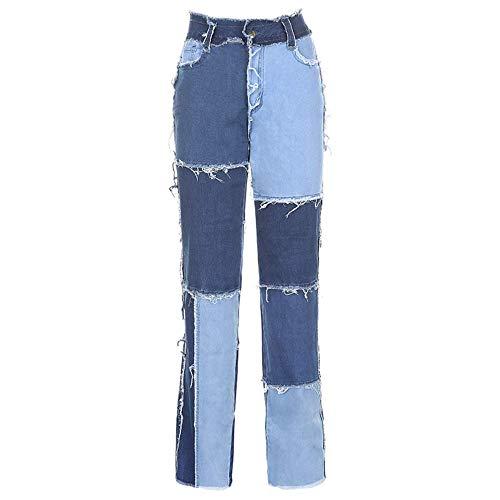 UANOU Streetwear Frauen Y2k Bodycon Jeans Mode Patchwork Harajuku Ästhetische Hosen Jeans High Waist Denim 90er Jahre Jeans Cuteandpsycho