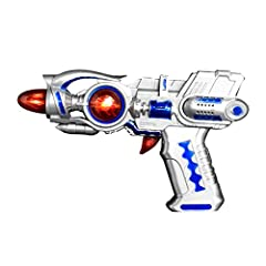 Silver metallic galaxy gun Lights up Makes laser sound effects Perfect accessory for a galactic cop or superhero costume