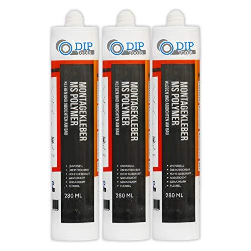 DIP-Tools Universal-Montagekleber - extra stark zum Kleben und Dichten (3x290ml, weiß)