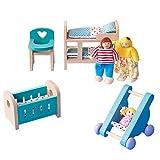 HUAJIA Accesorios De Casa De Muñecas De Madera, Muebles, Habitación De Bebé, Modelos En Miniatura, Juguetes Ensamblados DIY con Silla, Cama, Cochecito para Niños Y Niñas
