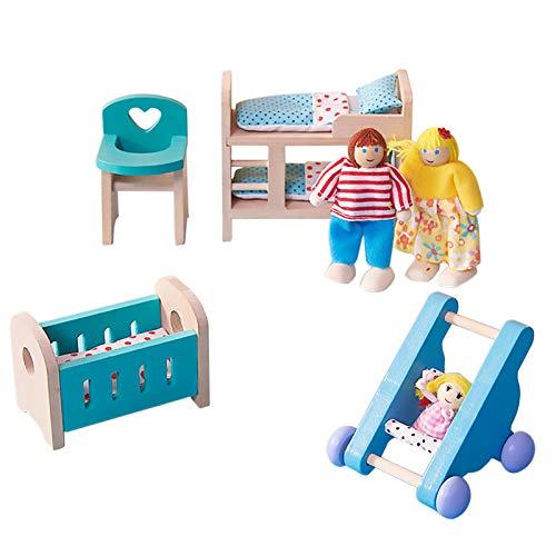 NXACETN Holz Puppenhausmöbel Set Babyzimmer Miniaturmodelle DIY zusammengebautes Spielzeug mit Stuhlbett Kinderwagen Familienpuppen Wohnkultur Puppenhauszubehör
