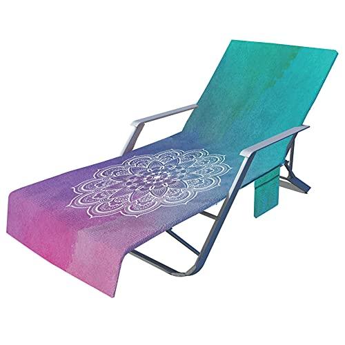 JAWSEU Funda de Silla de Playa Portátil Microfibra Toalla Silla de Playa de de Secado rápido,tumbonas de Playa,Secado Rápido/Bolsillos Múltiples/Ligero/Ultra Absorbente, Ideal para jardín o Playa.