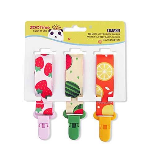 loweyuiroy Baby Pacifier Clips, Dummy Clips 3 Packs Pacifier Holder Straps for Girls Plastic Teething Clips Modern Unisex Design Strawberry Watermelon Lemon
