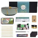 Footricion New Kintsugi Repair kit Gold Set | Premium Porzellankleber wasserfest | XL kleber Gold Set | Easy Kintsugi arts and crafts, deutsch Geschenk | die Kunst der Reparatur & wabi sabi
