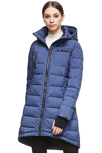 Orolay Women's Down Jacket Coat Mid-Length Blue M