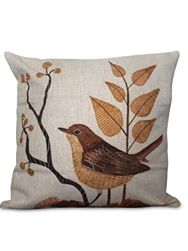 Rétro Little Bird Toile de coton Housse de coussin