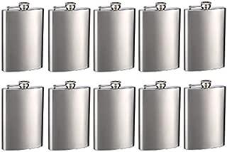 Top Shelf Flasks Brand Engraved 8oz Hip Flasks - Personalized, Pack of 10