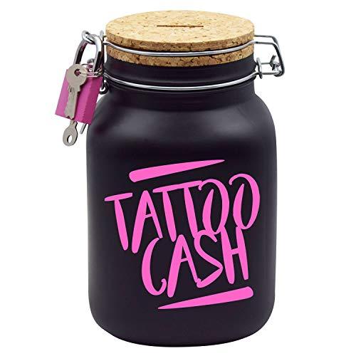 Tattoo Spardose Pink mit Aufschrift Tattoo-Cash Gutschein Geld-Geschenk XL