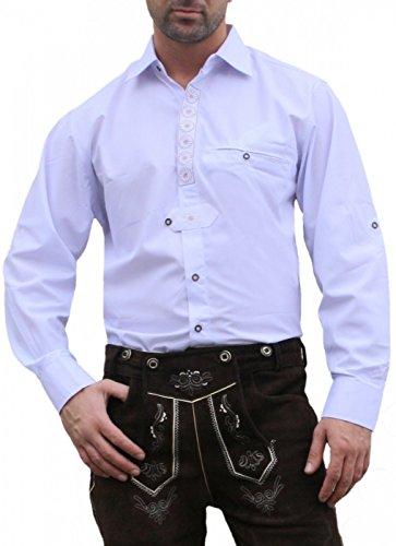German Wear Trachtenhemd für Trachten Lederhosen Trachtenmode Edelweiß Bestickt weiß, Hemdgröße:L