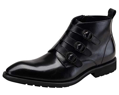 Monk Botas para Hombre con Tres Hebillas Negro Botines de Vestir Clásicas Cremallera Invierno Cuero Zapatos 41 EU