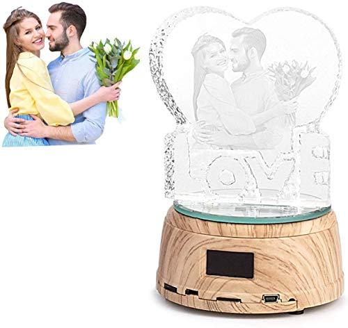 JRPT Carga USB,para exhibición en la tienda,Plataforma Rotatoria Luz nocturna, con luz led,Base giratoria eléctrica regalo de San Valentín,