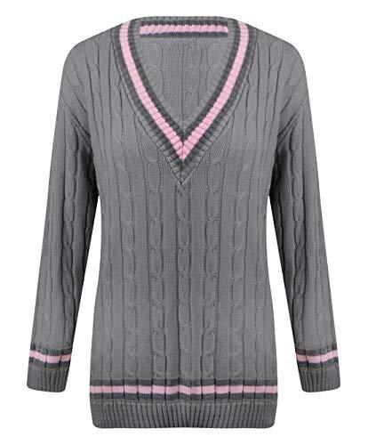 Damen Cricket-Pullover mit Zopfmuster Gr. One size, silber