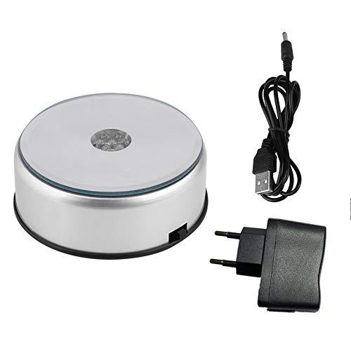 Hilitand 7 kleuren Roterende lamphouder (ontvanger/stekker) Crystal Trophy Base + AC110-240V adapter (EU-stekker) 10x3.5cm