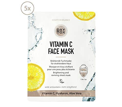 DAYTOX - Vitamin C Face Mask - Belebende Tuchmaske für eine Haut mit Glow - Vegan, ohne Farbstoffe, silikonfrei und parabenfrei - 5 x 25 ml …