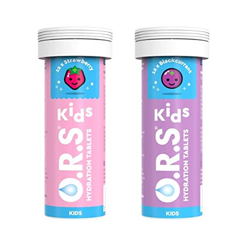 O.R.S Kids Hydration Tablets with Electrolytes, Vegan, Gluten and Lactose Free Formula - Natural Strawberry and Blackcurrant Flavour, 2x12 Tablets