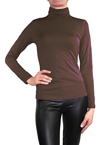 Muse Damen Langarm warmes Stretch Pullover Rollkragen Thermo Pulli Top (L / 40, Schoko Braun)