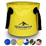 Northridge Gear Cubo Plegable Plegable en diseño Moderno | Camping Pesca Fiesta Jardín | Puede usarse como tazón de Lavado Plegable, Recipiente de Agua o Fregadero Plegable | Amarillo, 20L