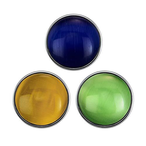 Quiges Damen Click Button 18mm Chunk Set 3 Stücke Regenbogen Motiv für Druckknopf Zubehör
