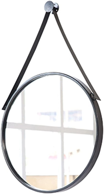 Li@ Bathroom Mirror, Vanity Mirror, Wall-Mounted Bathroom Mirror, Nordic Round Wall Mirror (color   Black, Size   40cm)