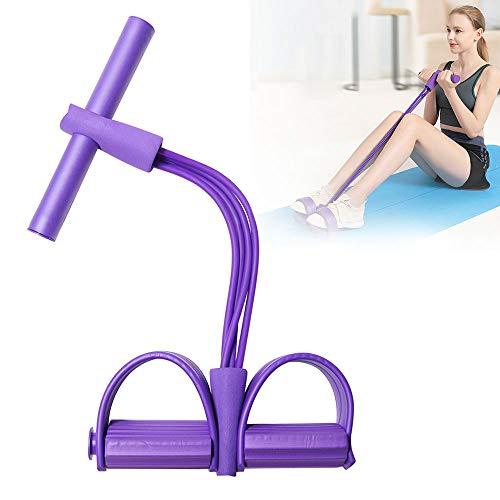 AODOOR Multifunktions-Leg-Exerciser, Sit-up Bodybuilding Expander, Multi-Function Tension Rope mit 4 Tubes Elastische Zugseil Pedal Resistance Band für Fitness Abnehmen Training - Lila