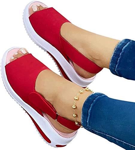 Sandalias de mujer de verano para playa, zapatos casuales de plataforma, sandalias de tacón grueso, sandalias de mujer con hebilla para mujer, color rojo, 42
