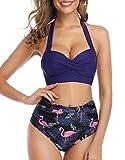 UMIPUBO - Bikini para mujer, dos piezas, ajustables, push up, trikini con estampado floral, Azul oscuro., L
