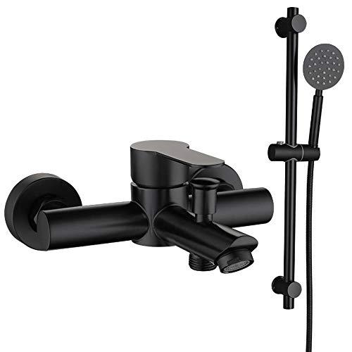 HomeLava Grifo de bañera de acero inoxidable 304, color negro, monomando, montaje en pared, con alcachofa de mano y manguera de ducha de 1,5 m