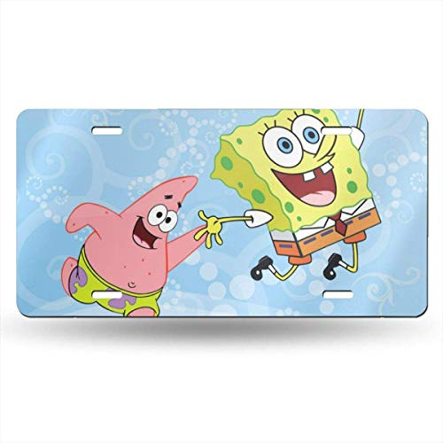 Suzanne Betty Aluminum License Plates - Spongebob and Patrick License Plate Tag Car Accessories 12 X 6 Inches