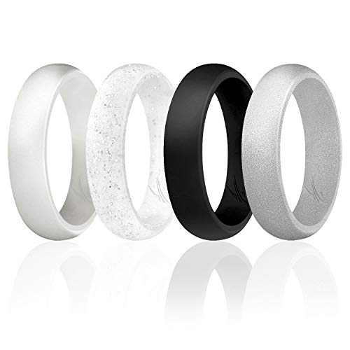 ROQ Silicone Wedding Ring For Women, Set of 4 Silicone Rubber Wedding Bands - Silver, Black, White - Size 10