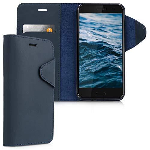 kalibri HTC U11 Hülle - Leder Handyhülle für HTC U11 - Dunkelblau - Handy Wallet Case Cover