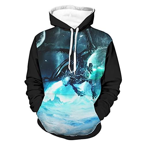 Shinelly Sudadera con capucha para hombre con diseño de dragón de hielo, de manga larga, con bolsillos, color blanco, talla L