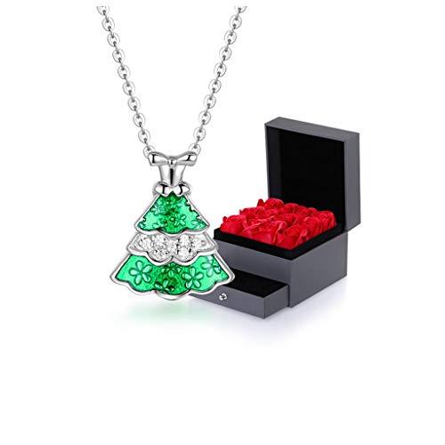 Collar Joyería pendiente de la Navidad Todo-Fósforo de oro rosa de plata esterlina colgante verde de Navidad árbol de collar Rosa de Navidad árbol regalo de las mujeres Collar Mujer ( Color : A )