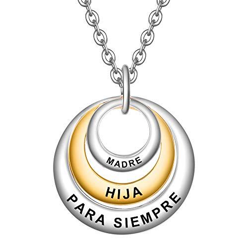 LOVORDS Collar Mujer Grabado Plata de Ley 925 Colgante 3 Círculos Regalo Madre Mamá Hija Niña