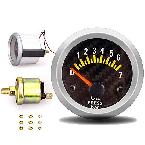 no-branded Kraftstoffanzeige Ölpresse-Lehre 12V 52mm Öldruckanzeige mit Sensor 0-7 Bar Auto-Messinstrument Digital Fuel Gauges Tester Olie Meter CGFEUR