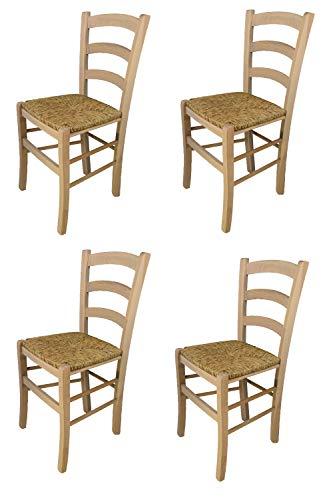 Tommychairs - Set 4 sedie modello Venezia per cucina bar e sala da pranzo, robusta struttura in legno di faggio levigato, non trattato, 100% naturale e seduta in paglia