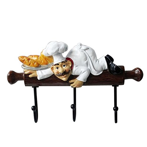 KiaoTime Fat Chef Decor Cute Home Kitchen Restaurant Bakery Decorative Chef with Bread Figurine Wall Hooks Oven Gloves/Hat/Cap/Coat/Apron Wall Mount Rack Hook Hanger