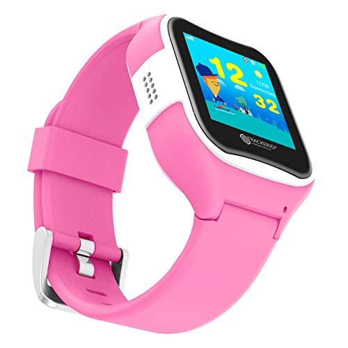 TrackerID Kinderuhr: Kinder-Smartwatch mit GPS-/GSM-/WiFi-Tracking, SOS-Taste, rosa, IP65 (Kinder Uhren)
