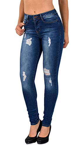 ESRA Damen Skinny Stretch Jeans mit Risse Destroyed Look High Waist Jeanshose, J377, 38