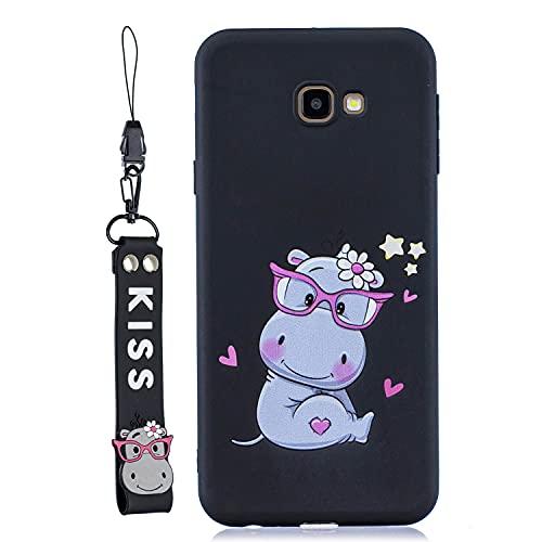 JZ Capa de silicone para Galaxy J4+ para Samsung Galaxy J4 Plus Capa traseira com alça de pulso – Hipopótamo