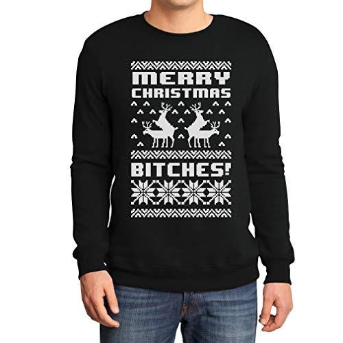 Merry Christmas Bitches Schwarz Large Sweatshirt Weihnachtspullover - Lustiger Weihnachtspulli
