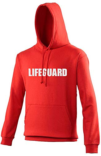 """Unisex Kapuzenpullover mit Aufdruck """"Lifeguard"""" Gr. Medium, Rot-Weiß-Aufdruck"""