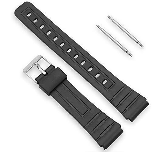 Ociodual Uhrenband für Casio F-91W 18mm Schwarz Harz Metallschnalle mit 2 Pins Uhrenarmbänder Kompatibel Uhrenarmband F91 F91W