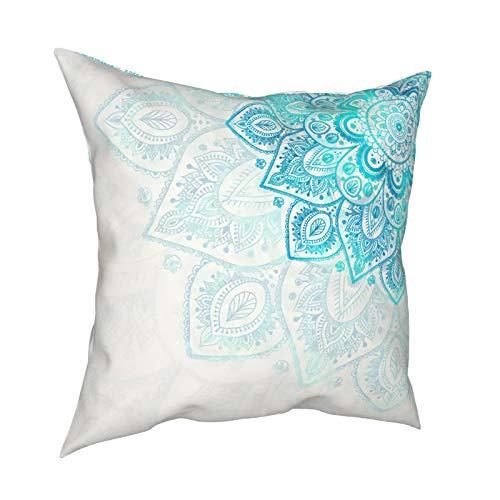 DearLord Fundas de cojín cuadradas de doble cara con estampado de mandala de flores turquesas para sofá dormitorio con cremallera invisible 45,7 x 45,7 cm