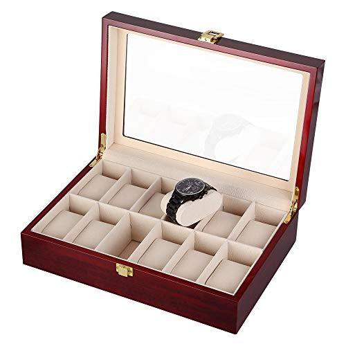 Caja para Relojes de Madera Estuche para Relojes y joyeros con 12 Compartimentos